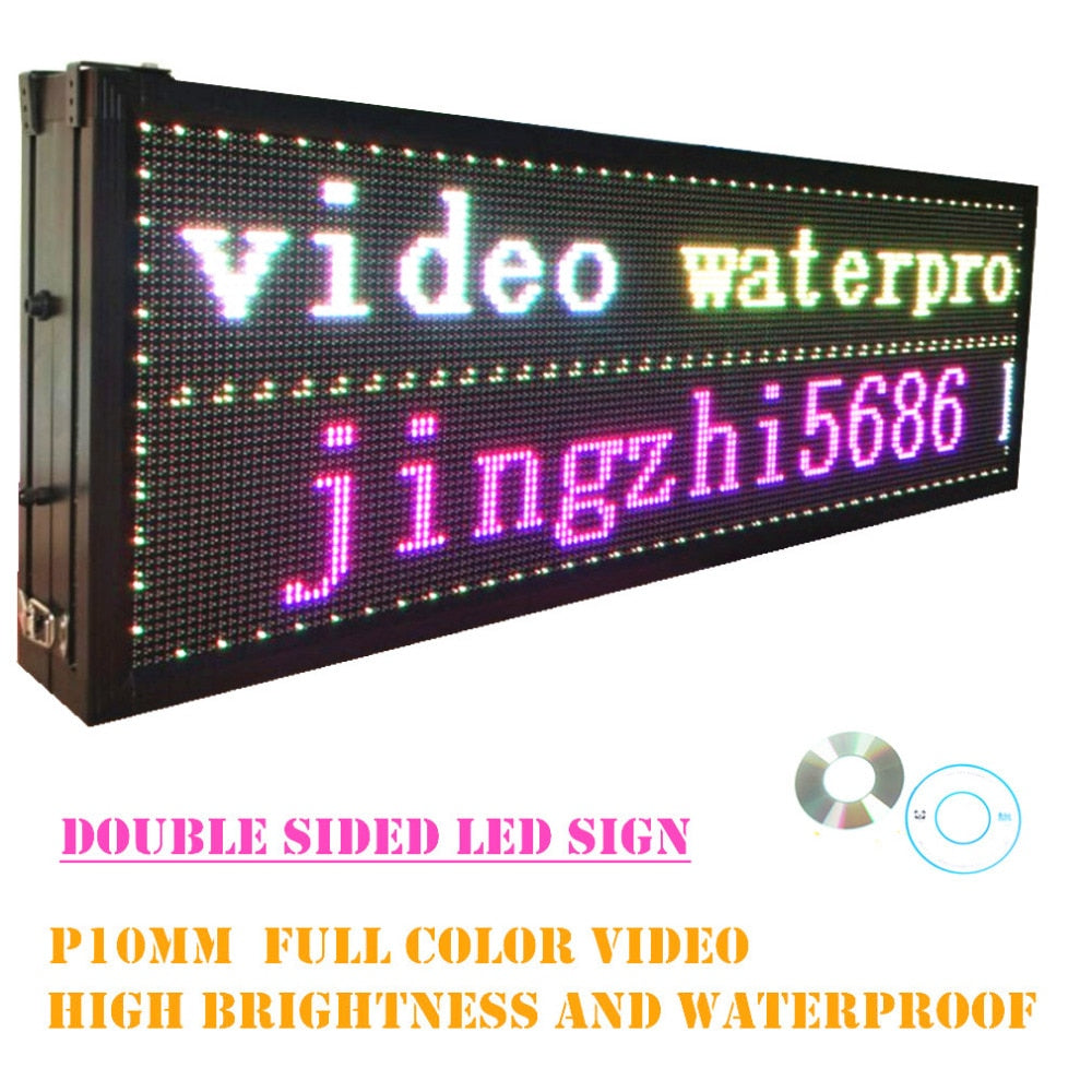 66 inch P10 48*160 pixel Outdoor Double Sided RGB Full-Color Video Waterproof LED Display Board - Leadleds