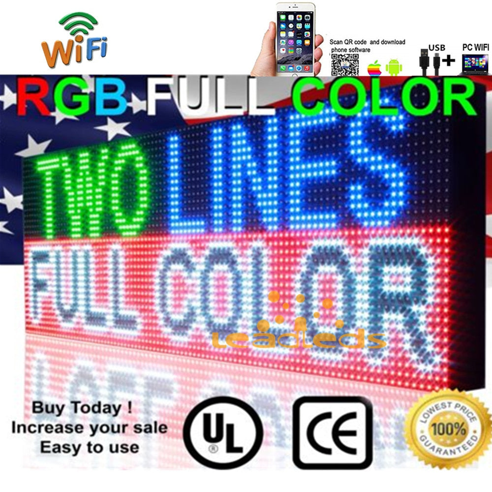 41x16inch Full Color RGB Outdoor Waterproof 10MM HD Wifi+U disk Programmable Scrolling Message Street Multi-line Led Sign board - Leadleds