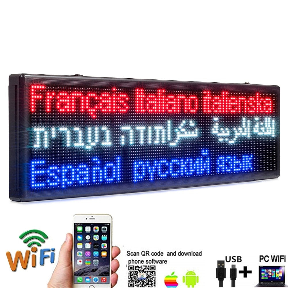 Sidewalk Signs Outdoor Waterproof Multicolored WiFi Program Scrolling Message Board - 2 Meters - Leadleds