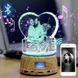 Personalized Photo Rotating Music Box with Crystal Bluetooth Lamp RGB Colors Remote Control - Leadleds