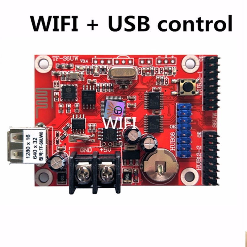 Asynchronous TF-S6UW0 LED SIGN WIFI Control card, P10 P20 P5 P6 module panel LED Display, suitable for single and double colors - Leadleds