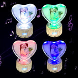 Your Colored Photo on Heart-shaped Crystal with Bluetooth Speaker Rotating Lighting Base Music Box