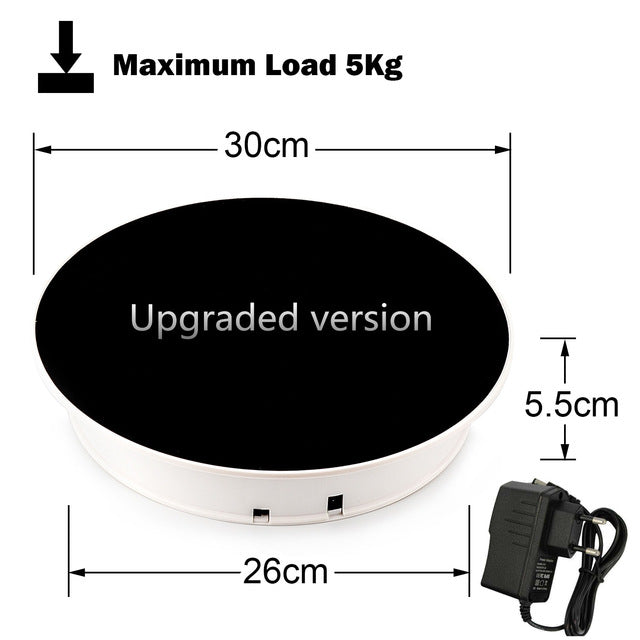 "Leadleds 12"" Black Velvet Top Motorized Turntable Display, 360 Degree Electric Rotating Display Turntable"