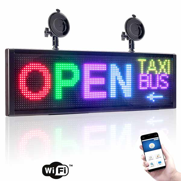 "Leadleds 20"" Full Color Led Panel for Car Sign Display Board Fast Programmable by Smartphone WiFi"