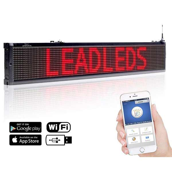 Leadleds 40 in Storefront Business Signs Scrolling Message Programmable by Phone, Red