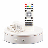 Dia 20cm Stable Heavy Load Remote Control Electric Turntable Jewelry Display Stand 360 Degree white Color 20-68 Secs Per Circle - Leadleds