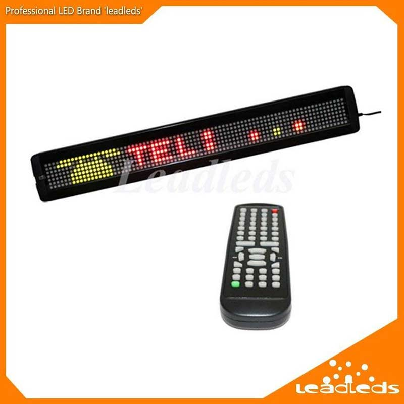 Leadleds 26 x 4 Inches Remote LED Sign Programmable Scrolling Message Board for Business, Store(RGY 3 Colors) - Leadleds