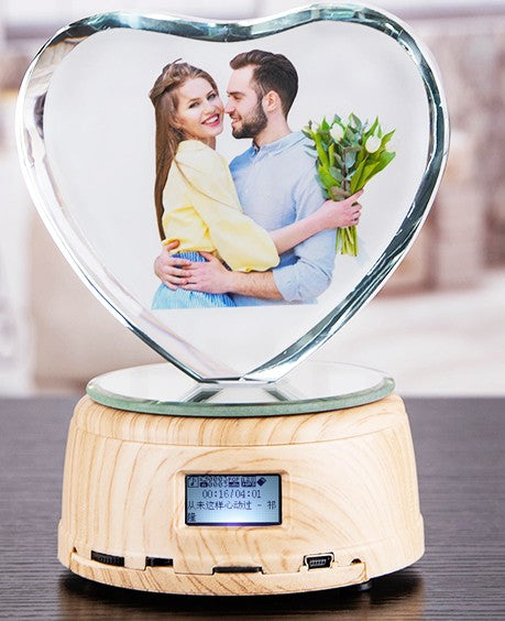 Personalized Photo Rotating Music Box with Crystal Bluetooth Lamp RGB Colors Remote Control