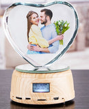 Custom Color Photo LED RGB display night light crystal photo MP4 music player jewelry rotating display stand