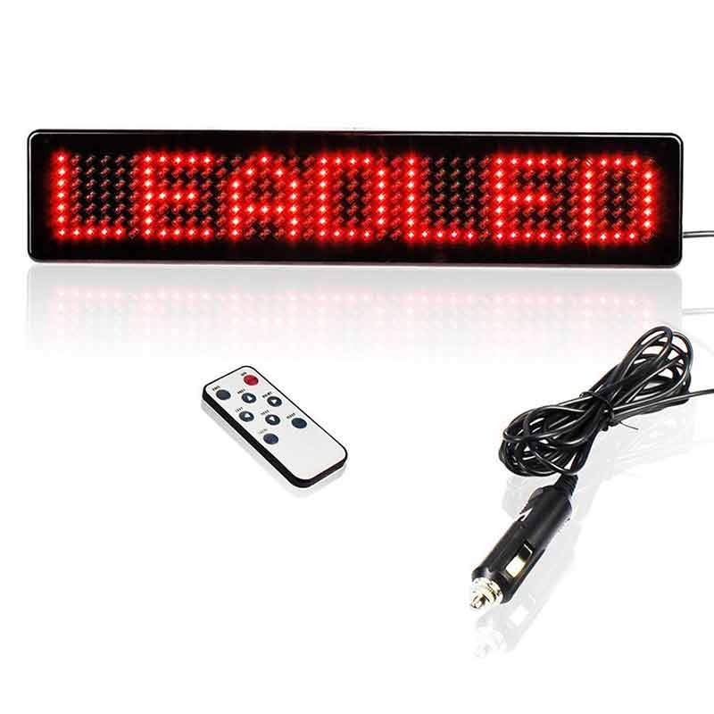Leadleds DC12v Led Car Sign Remote Programmable Message Board for Store Vehicle Window, Red - Leadleds
