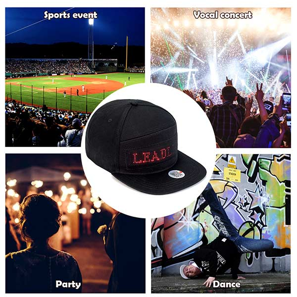 LED Cool Hat Phone Controlled LED Screen Baseball Cap for Concert Halloween Birthday Party Christmas Club, Red Message