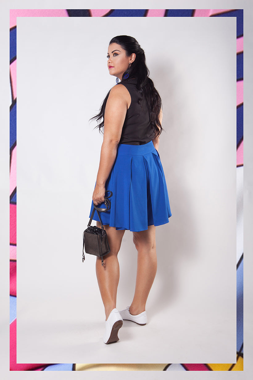 Short Saia Plus Size Azul Royal