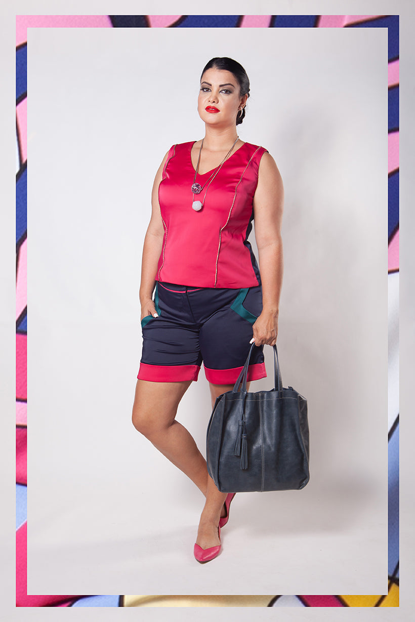Short Plus Size Color Block