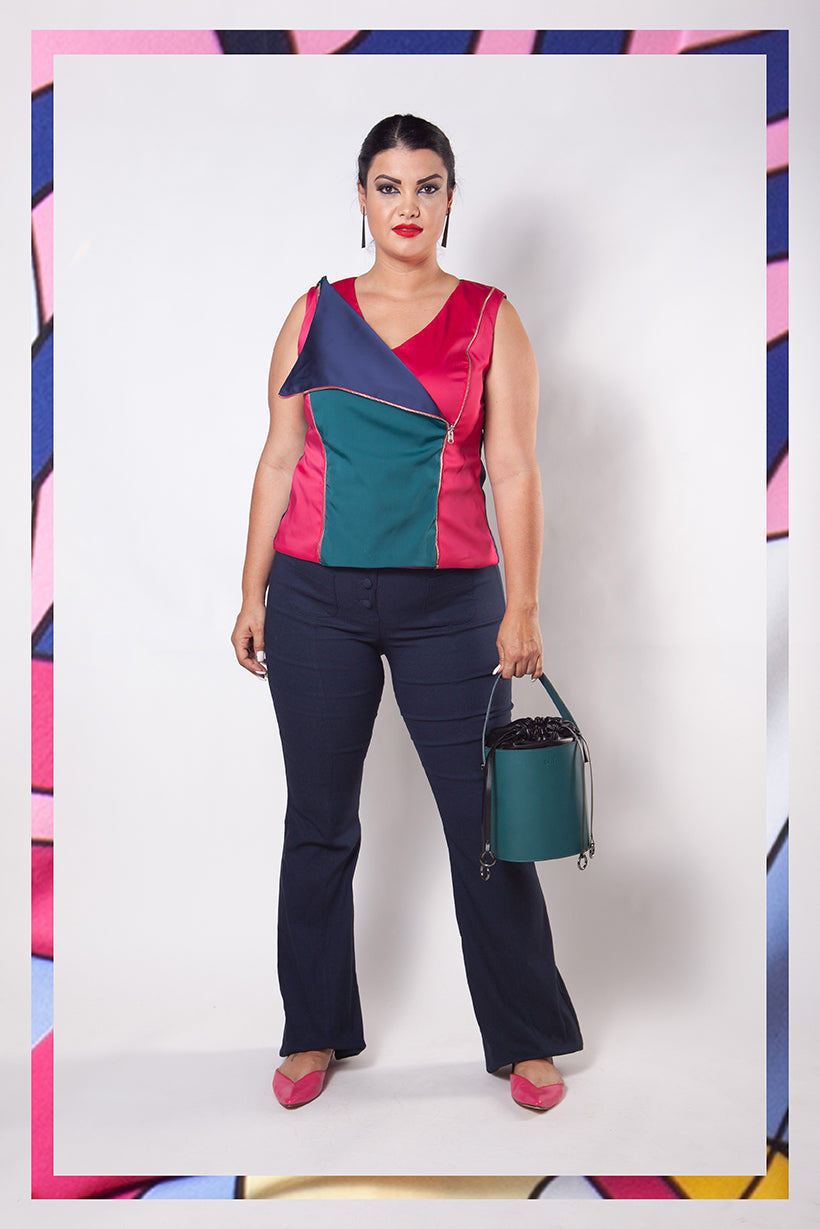 Blusa Plus Size Color Block Versátil