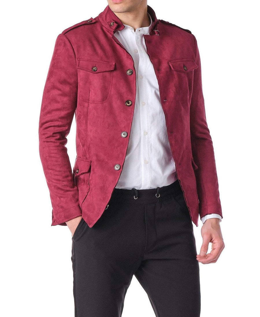 Brave Looks Wine Faux Suede Jacket