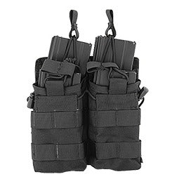 CA-378BN NYLON BUNGEE OPEN TOP DOUBLE MAG POUCH (BLACK) - ssairsoft