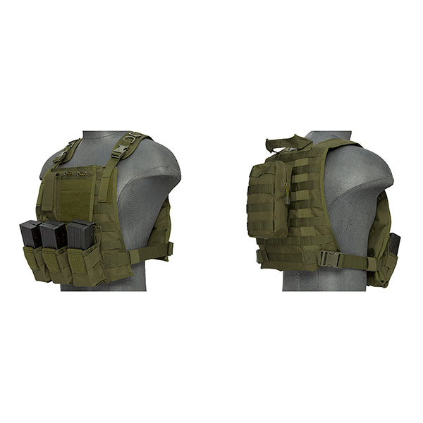 Lancer Tactical NYLON MOLLE PLATE CARRIER VEST OD - ssairsoft