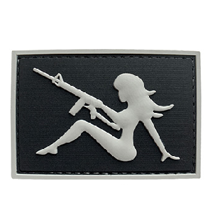 G-Force Mudflap Girl w/ Rifle PVC (Right) Patch (BLACK/GRAY) - ssairsoft