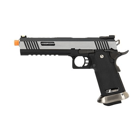 WE Tech 1911 Hi-Capa T-Rex Competition w/ Sight Mount & Top Ports (Two Tone / Silver)