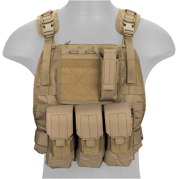 Lancer Tactical NYLON MOLLE PLATE CARRIER VEST TAN - ssairsoft