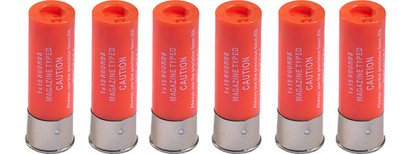 WoSport 15 Round Shotgun Shells forShotguns (Color: Orange / Pack of 6) - ssairsoft