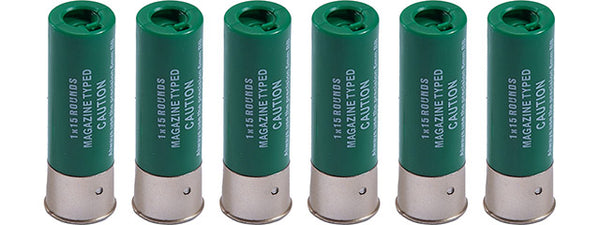 WoSport 15 Round Shotgun Shells forShotguns (Color: Green / Pack of 6) - ssairsoft