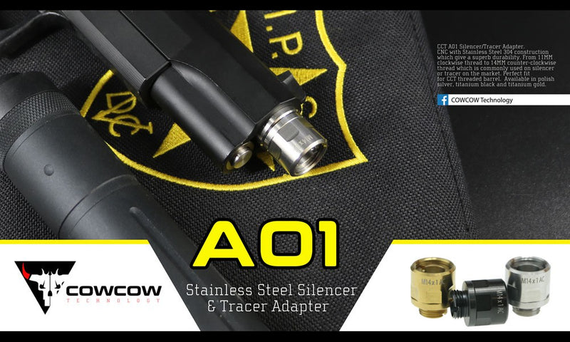 CowCow A01 Silencer Adapter - Black - ssairsoft