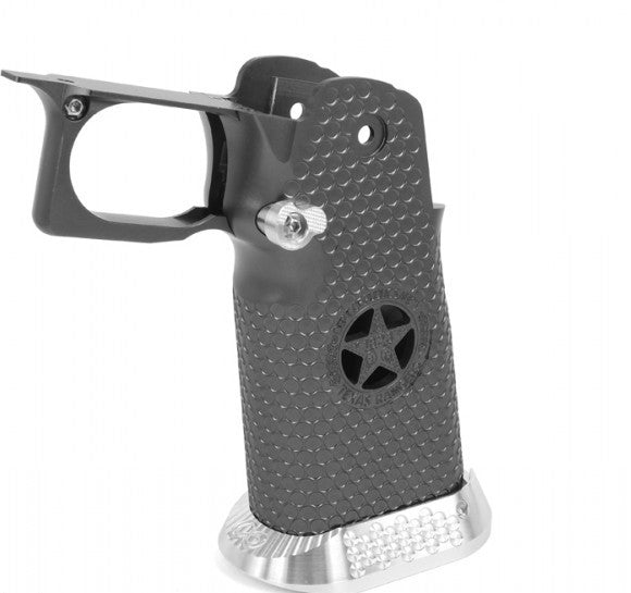 AIRSOFT MASTERPIECE ALUMINUM GRIP FOR HI-CAPA AIRSOFT PISTOLS TEXAS RANGERS TYPE 5 (TITANIUM GRAY)