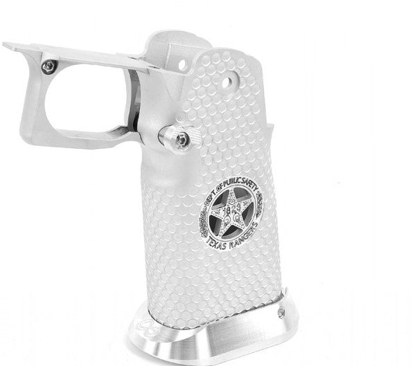 AIRSOFT MASTERPIECE ALUMINUM GRIP FOR HI-CAPA AIRSOFT PISTOLS TEXAS RANGERS TYPE 5 (SILVER)