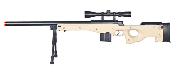 WELLFIRE AIRSOFT L96 AWP BOLT ACTION RIFLE W/ BIPOD AND SCOPE - TAN - ssairsoft