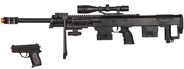 P1050 Spring Rifle w/Flashlight Laser and Bonus P211 Spring Pistol in Combo Box - ssairsoft