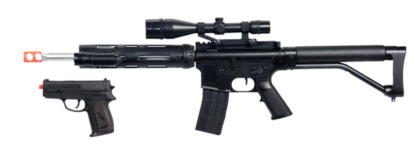 UKARMS P1136 Spring Rifle w/ Scope, Laser, & Flashlight and Bonus P618 Spring Pistol in Combo Box - ssairsoft