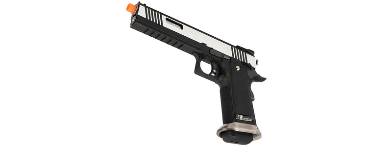 WE Tech 1911 Hi-Capa T-Rex Competition w/ Sight Mount & Top Ports  GBB Two Tone / Silver - ssairsoft