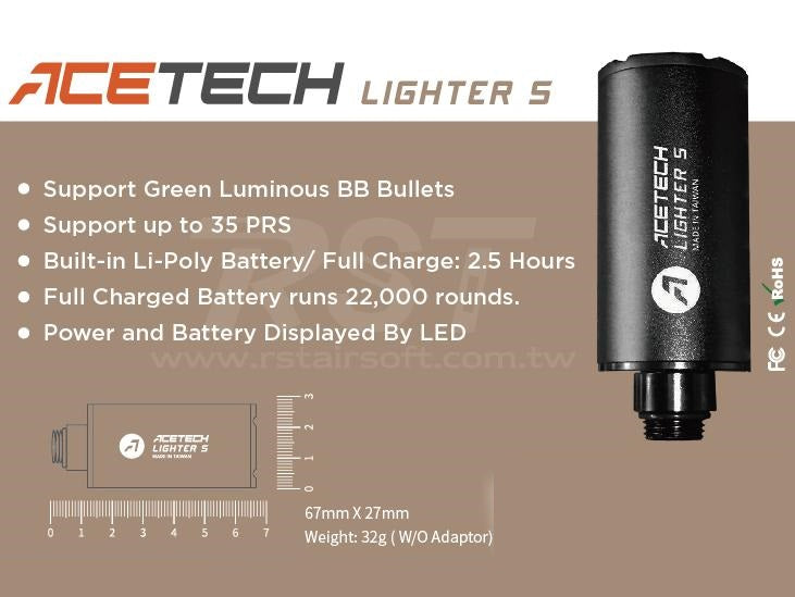 Noveske Flash Hider w/ Built-In ACETECH Lighter S Ultra Compact Rechargeable Tracer-KX5 Gold - ssairsoft