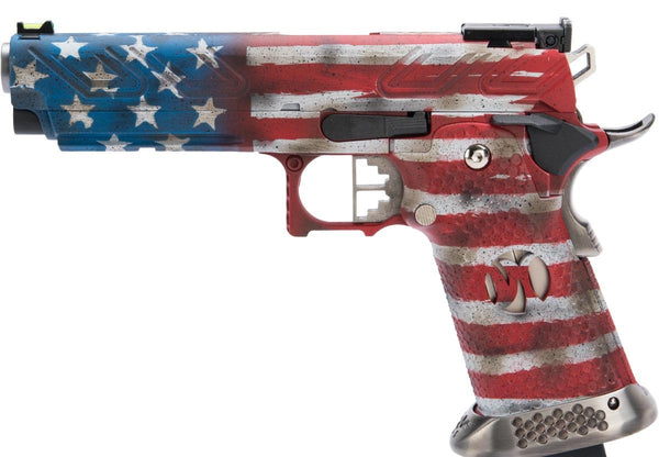 AW Custom HX2302 Hi-Capa Gas Blowback Airsoft Pistol w/ Black Sheep Arms Custom Cerakote  Old Glory - ssairsoft