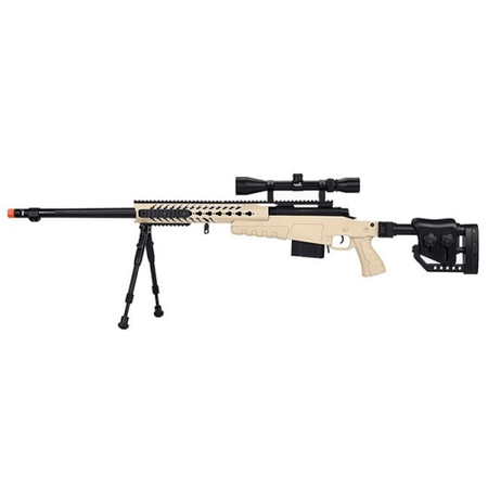 WellFire Bolt Action Airsoft Sniper Rifle w/ Scope & Bipod (TAN)