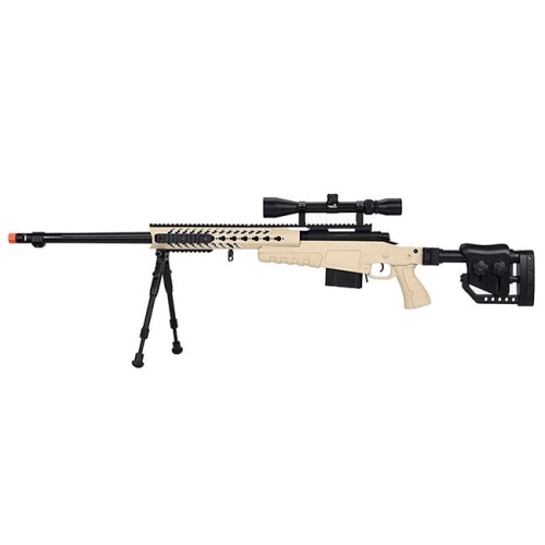 WellFire Bolt Action Airsoft Sniper Rifle w/ Scope & Bipod (TAN) - ssairsoft