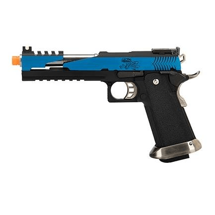 WE Tech 1911 Hi-Capa T-Rex Competition w/ Top Vent (BLUE / SILVER) - ssairsoft
