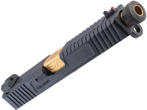 EMG/Salient Arms International Tier 2 Slide Kit for Elite Force GLOCK 17 Gen 3 (Color: Black / Gold Barrel) - ssairsoft