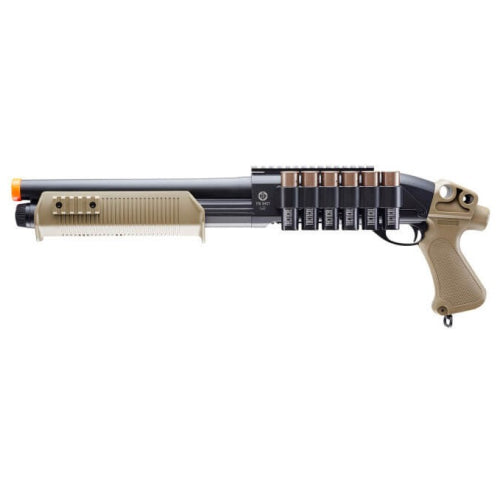 TACTICAL FORCE TRI-SHOT AIRSOFT SHOTGUN-6MM- BLACK/TAN - ssairsoft