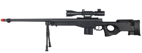 WELLFIRE AIRSOFT L96 FLUTED BOLT ACTION ILLUMINATED SCOPE RIFLE - BLACK