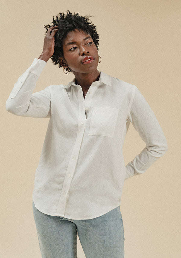 White Linen Long Sleeve Button Down