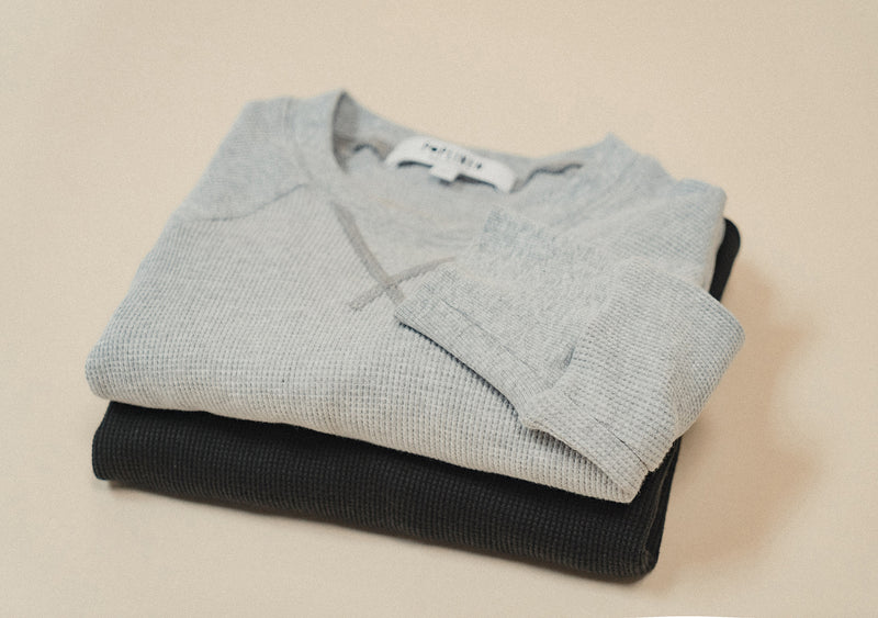 flatlay waffle thermals black and grey