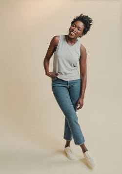 Shirley Bamboo Tank in Grey (Front)