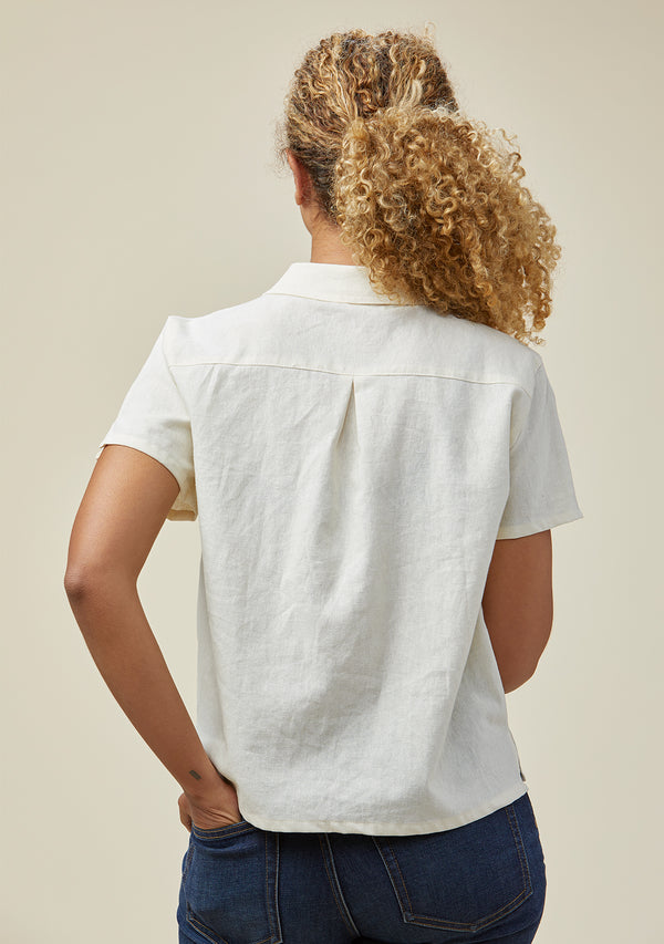 Becky Organic Cotton + Linen Short Sleeve Button-down