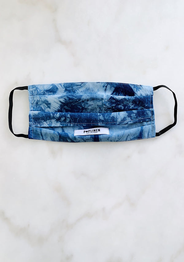 Adult face mask indigo tie dye