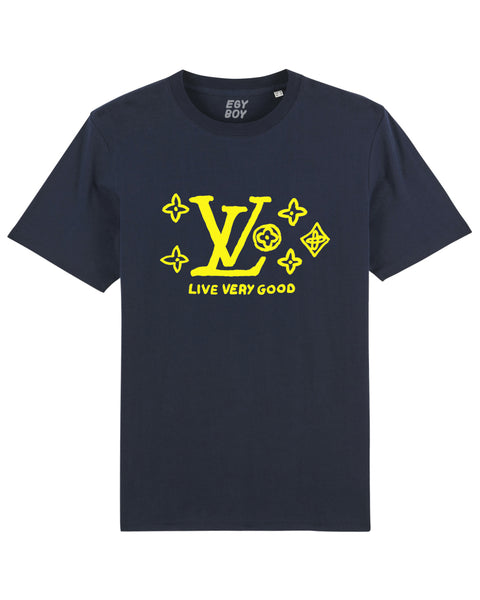 LIVE VERY GOOD Premium/Navy tee