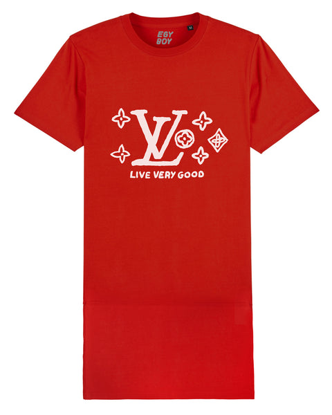 LVgood Red/White T-Dress