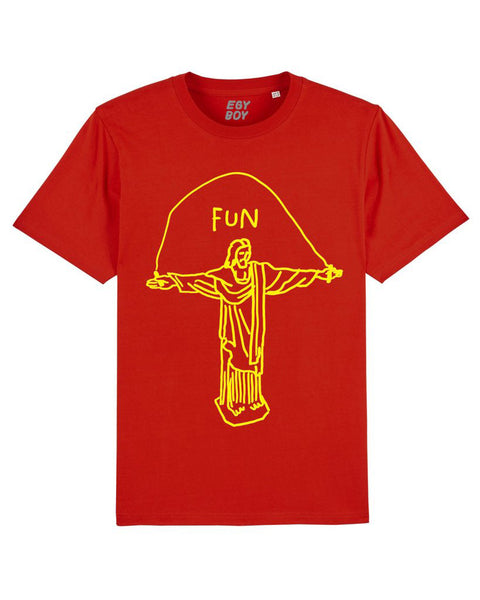 JEZUS FUN Red/Yellow print tee