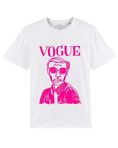 (SOLD OUT) VOGUING White/Fluro-pink Tee